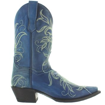 Dan Post Nora - Blue Leaf Embroidered Leather Snip Toe Cowboy Boot