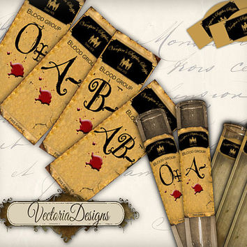 INSTANT DOWNLOAD Halloween Apothecary Test Tube Labels Vampire Bottle Jar Labels Tags Halloween printable  images digital collage sheet 234