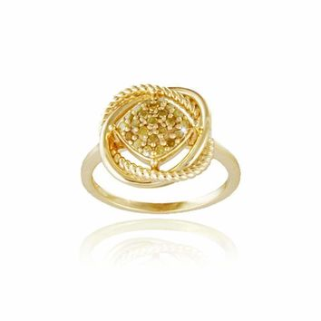 18K Gold over Sterling Silver 1/4ct Yellow Diamond Love Knot Ring Size 6