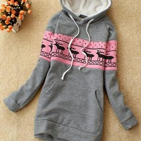 Gray Deer Pullover Hooded Sweatshirt$38.00