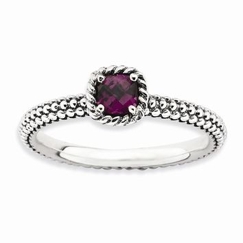 Sterling Silver Stackable Expressions Checker-cut Rhodolite Garnet Antiqued