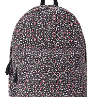 FOREVER 21 Floral Canvas Backpack Black/Multi One