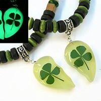 Matching Glow in The Dark Four Leaf Clover Necklaces, Real Pressed Shamrocks & Ireland Flag Colors, Adjustable Vegan St Paticks Day Heart Jewelry, FREE USA SHIPPING