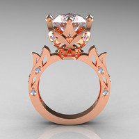 Modern Antique 14K Rose Gold 3.0 Carat Simulation Diamond Solitaire Wedding Ring R214-14KRGSD