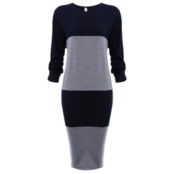 Hit Color Spliced Thin Round Neck Striped Knit Dress for Ladies