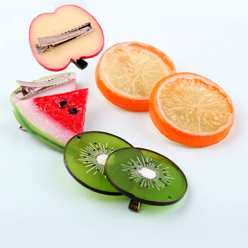 New Summer Style Many Patterns Fruits Slice Fashion Hair Accessories for Girls Kids Women Hair Clips Children Barrettes Headwear