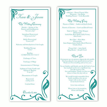 Wedding Program Template DIY Editable Text Word File Download Program Teal Wedding Program Blue Program Printable Wedding Program 4x9.25inch
