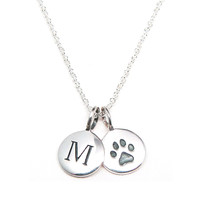Silver Initial & Paw Print Charm Necklace