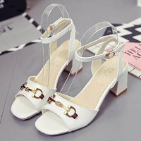 GUCCI Women Fashion Buckle Leather Heels Shoes