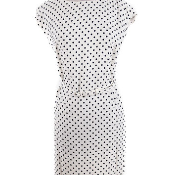 White Polka Dot Silk Dress Size:36