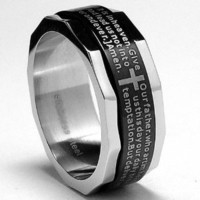 Two Tone Stainless Steel Ring with Lords Prayer and Cross Design Size 7