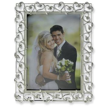 Silver Plated Heart with Enamel Photo Frame