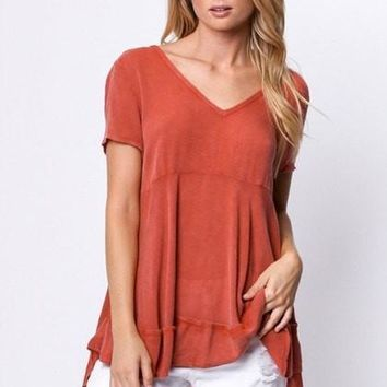 Brick Red Open Detailed Back Top