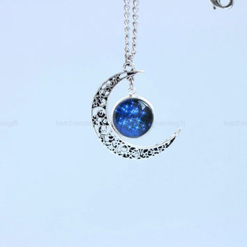 Moon necklace, time gem necklace, cosmic necklace, hollow moon charm necklace