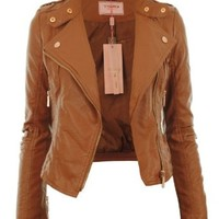 Gracious Girl Women's Diana Faux Leather Biker CropJacket Tan 4