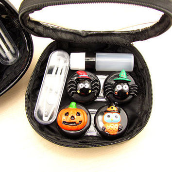 Halloween Contact Lenses Lens Case Holder Box Portable Travel Kit Set, Cosmetic Bag Contact Lenses Traveling Set
