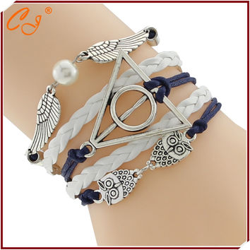Europe and America WhiteLeather Double Infinite Bracelets Braided Vintage Owl Harry Potter Wings Infinity Bracelet F-CTSLB0116