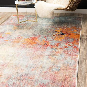 0154 Multi Color Modern Over-Dyed Contemporary Area Rugs