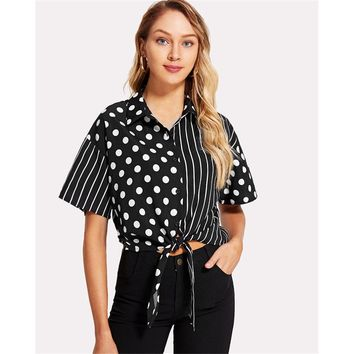 Mixed Print Button Up Knot Front Blouse