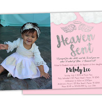 Pink Angel Baptism Invitation - Girl Baptism Invitations - Photo Baptism Invitation - Printed - Pink and Silver - Religious Ceremony Girls