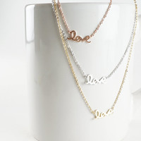 Love Cursive Handwritten Dainty Simple Minimalist Silver Gold or Rose Gold Plated Necklace