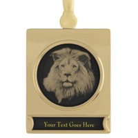 Sepia Lion on Black Gold Plated Banner Ornament