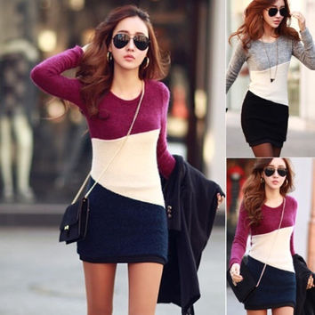 Women Slim Winter Long Sleeve Knit Jumper Sweater Tops Casual Short Mini Dress = 1945960516