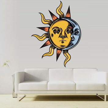 Full Color Wall Decal Mural Sticker Decor Art Poster Gift Sun Moon Crescent Dual Both Ethnic Symbol (col742)