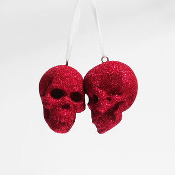 Skull, 2 Lovers, Glitter Skull, Skulls, Gothic, Skull Ornament, Gothic Decor, Red Skull, Hodi Home Decor, Human Skulls in Australia
