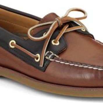 Sperry Top-Sider Gold Cup Authentic Original 2-Eye Boat Shoe Tan/BrownLeather, Size 7.5M  Men's Shoes