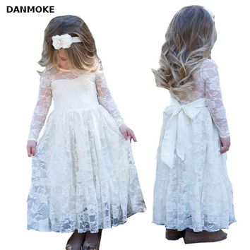 Girl Lace Long Dress With Sweet Flower For Age 2-12 Baby Kids Princess Wedding Prom Party White Big Bow Long Sleeved Dress