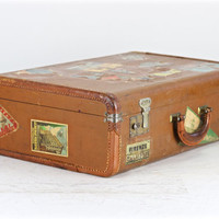 Vintage Suitcase With Travel Labels, Suitcase With Travels Labels, Vintage Suitcase, Old Suitcase, Vintage Luggage, Mid Century Suitcase