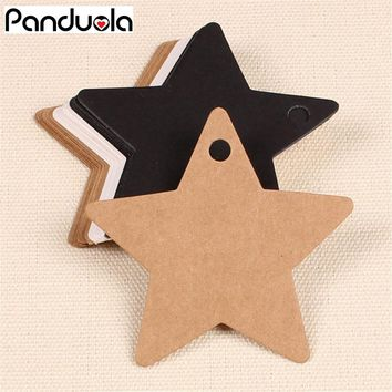100Pcs Star Kraft Paper Label Wedding Christmas Halloween Party Favor Price Gift Card Luggage Tags White Black Dark khaki