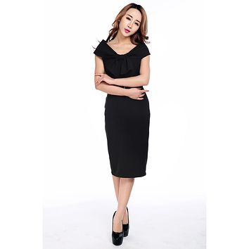 Vintage 60's Audrey Hepburn Inspired Wide Off Shoulder Black Pencil Dress
