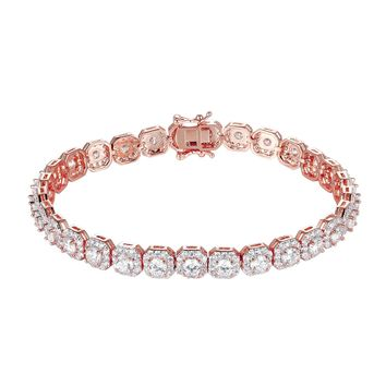 Iced Out Rose Gold Finish Hexagon Shaped Tennis Bracelet