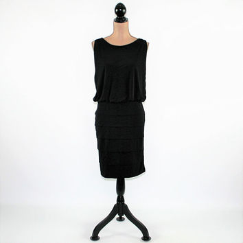 Sleeveless Black Dress Women Medium Knit Dress Cocktail Dress Club Dress Midi Dress Vintage Clothing Womens Clothing