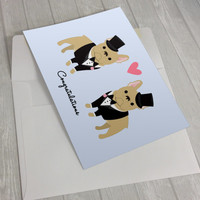 Wedding Card - Wedding French Bulldogs Greeting Card - 2 Grooms Wedding Card - French Bulldog lover card - Gay Wedding Card - Gay Marriage