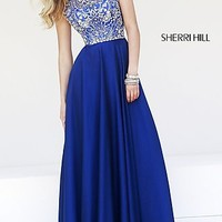 Cap Sleeve High Neck Beaded Prom Gown by Sherri Hill
