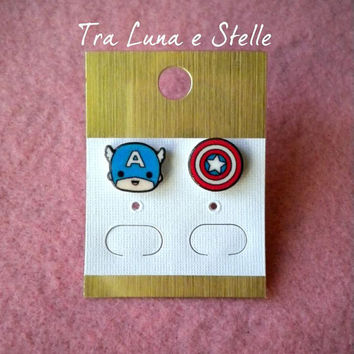 Earrings Captain America superhero Avengers Marvel comics - cute kawaii
