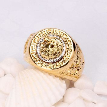 New Fashion Vintage Male Lion Head Punk And Eagle Ring Men Filled Wedding Party Rings For Gift
