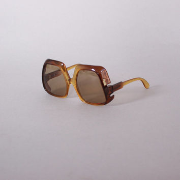 Vintage 70s SUNGLASSES / 1970s Clear 2-Tone Brown Oversized Designer Sunnies