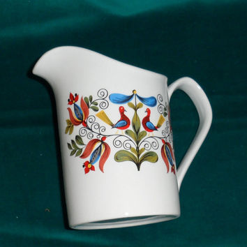 VINTAGE 60's JOHNSON BROS Cream Jug / Made In England / Folk Art Pattern / Colourful Table Ware / Medium Sized Cream China Pitcher