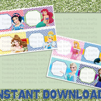 Disney World Princess AUTOGRAPH Cards - Printable - PDF - 4 Cards per Sheet - INSTANT Download - Thank You Cards