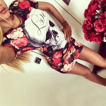 2017 New Print Skull Love Red Flower Dress Women Sexy Sheath Short Sleeve Wrap Bodycon Dress Casual O neck Summer Dress Vestidos