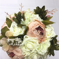 Colorful Wedding Bridal Bouquet Flower Bride Holding Flower-0076 = 1929532484