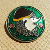 Hegdehog Pin - Rare Soviet Vintage Pin with a Hedgehog Made in USSR in 1970s
