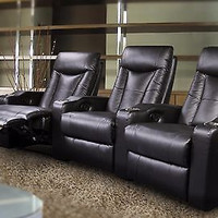 NEW BLACK  LEATHER PAVILLION 600130 HOME THEATER CHAIRS RECLINING 6 SEATS