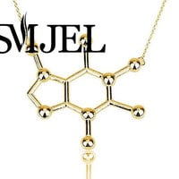 Caffeine Molecule Necklace Chemistry Structure Necklace Personalized Necklace N137