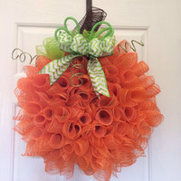 Fall mesh wreath, Autumn wreath Deco Mesh Curly Pumpkin Wreath Fall/Autumn front door wreath halloween