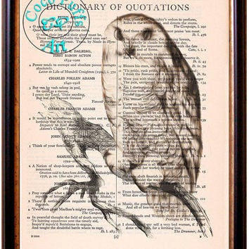 Snow Owl Sitting on a Tree Branch Drawing Art Beautifully Upcycled Vintage Dictionary Page Book Art Print, Bird Art Print